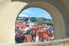 Cesky Krumlov view through a stone arch Royalty Free Stock Image