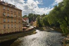 Cesky Krumlov. A view from the Vltava river cross Český Krumlov, Czech Republic Stock Photos