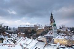 Cesky Krumlov, vinter Fotografering för Bildbyråer