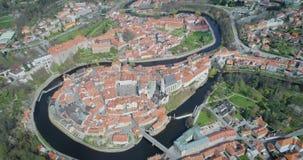 Cesky Krumlov - vista aérea da cidade video estoque