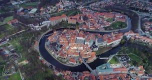 Cesky Krumlov - vista aérea da cidade filme