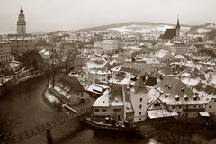 Cesky Krumlov in Winter Stock Photo