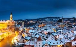 Cesky Krumlov, Winter Stockfotografie