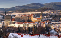 Cesky krumlov at winter, day before christmas Stock Image