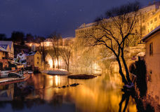 Cesky krumlov at winter, night before christmas Royalty Free Stock Images