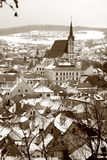Cesky Krumlov winters scene Royalty Free Stock Photography