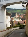 cesky krumlovsikt för republiktown för cesky tjeckisk krumlov medeltida gammal sikt Arkivbilder