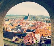 cesky krumlovsikt för republiktown för cesky tjeckisk krumlov medeltida gammal sikt Arkivbild