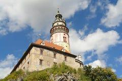 Cesky-Krumlovturm des alten Schlosses Lizenzfreie Stockfotos