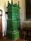 Cesky Sternberk城堡,捷克老壁炉内部  库存图片