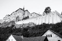 Cesky Sternberk castle, Czech republic, black and white Stock Photos