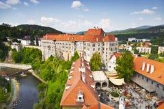 城堡cesky捷克krumlov保护的共和国科教文组织 免版税图库摄影