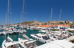 Cesme marina and castle view, Turkey Royalty Free Stock Photo