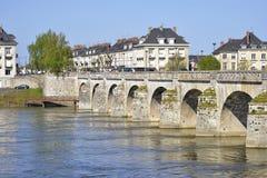 Cessart bridge at Saumur in France Stock Photos
