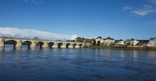 Cessart bridge of Saumur over Loire, France Royalty Free Stock Photo