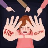 Cessez d'intimider la femme effrayée par victime triste de fille de mauvais traitement à enfant avec le signe de main illustration stock