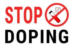 Cessez le dopage Illustration rouge positive d'essai de dopage sur le fond blanc avec le texte Icône en verre d'essai plat en cer illustration de vecteur