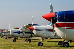 Cessna 152s Tied Down and Parked at Private Airfield Royalty Free Stock Photo
