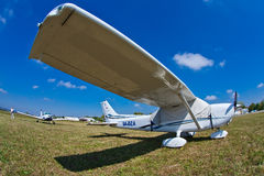 Cessna 172S Skyhawk during Air Show. Front fish eye view of Cessna 172S Skyhawk during 11th International Zagreb Air Show Royalty Free Stock Photos