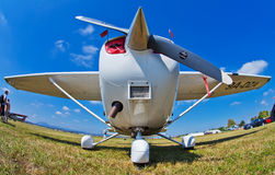 Cessna 172S Skyhawk during Air Show. Front fish eye view of Cessna 172S Skyhawk during 11th International Zagreb Air Show Stock Photos