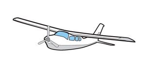 Cessna 210 Illustration Airplane. An illustration of a Cessna 210 small airplane. Black White Grey and Blue Stock Photography