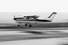 Cessna 210 - Touch 'n Go - BW Stock Images