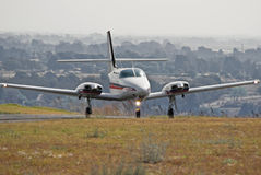 Cessna 303 Crusader Takeoff 02. The T303 is an all-metal low-wing six-seat piston-powered aircraft twin-engined aircraft with a tricycle undercarriage Royalty Free Stock Photography