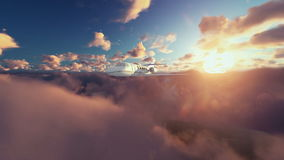 Cessna airplane above clouds at sunrise stock illustration