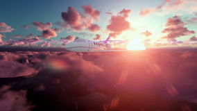 Cessna airplane above clouds at sunset royalty free illustration