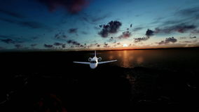 Cessna airplane flying over ocean and island, timelapse sunrise stock video footage