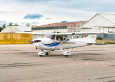 Cessna airplane parked at a small airport Stock Photo