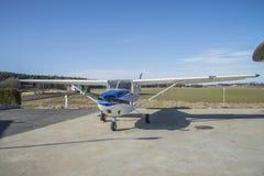 Cessna 172B Skyhawk LN-NPK. Parked at Rakkestad airport Cessna 172B Skyhawk LN-NPK (privately owned). The Cessna 172 Skyhawk is a four-seat, single-engine, high Stock Image