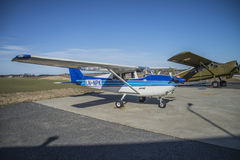 Cessna 172B Skyhawk LN-NPK. Parked at Rakkestad airport Cessna 172B Skyhawk LN-NPK (privately owned). The Cessna 172 Skyhawk is a four-seat, single-engine, high Royalty Free Stock Image