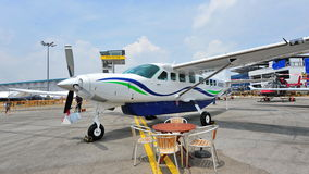 Cessna 208 Caravan single turbo propeller aircraft on display at Singapore Airshow Stock Photography