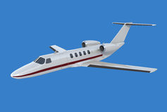 Cessna Citation cj4 private jet. 3d model of Cessna Citation cj4 private jet on blue background Royalty Free Stock Images