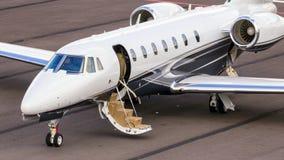 Cessna 680 Citation Sovereign business jet. EINDHOVEN, THE NETHERLANDS - SEP 17, 2016: Cessna 680 Citation Sovereign business jet on the tarmac of eindhoven Royalty Free Stock Photo