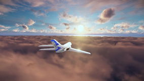 Cessna cruising above clouds at sunset stock video footage