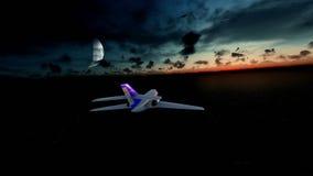 Cessna cruising above ocean at sunrise, moon on the background stock illustration