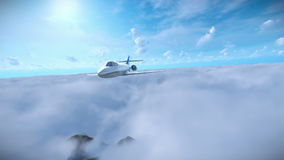 Cessna flying above clouds stock illustration