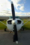 Cessna Front. Front view of a parked cessna aircraft with all logos removed Stock Photos
