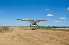 Cessna Grand Caravan. The Cessna Grand Caravan light airplane taxis and takes off at a remote airstrip Royalty Free Stock Images