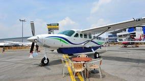 Cessna 208 karawany Turbo pojedynczy śmigłowy samolot na pokazie przy Singapur Airshow Fotografia Stock