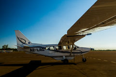 Cessna at Maun airport, Botswana. Small Cessna airplane at Maun airport, Botswana Stock Photo