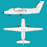 Cessna - Nice white airplane on sky, flying plane Royalty Free Stock Photography