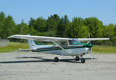 Cessna 172P plane in Hancock County Bar Harbor airport in Maine Stock Photography