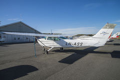 Cessna 182 Skylane. The Cessna 182 Skylane is an American four-seat, single-engined light airplane. The engine, six-cylinder boxer engine with 230 or 235 hp, 170 Royalty Free Stock Photos