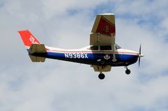Civil Air Patrol Cessna 182. A Cessna 182 of the US Civil Air Patrol is show in flight. The Civil Air Patrol (CAP) is a group of volunteer pilots who support the royalty free stock photography