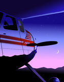 Cessna195. Vintage Cessna 195 at dusk Stock Photography