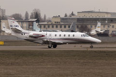 Cessna 560XLS Citation Excel business aircraft preparing for take-off from the runway Stock Image