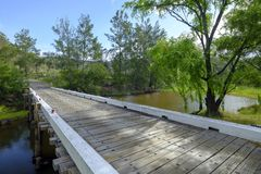 Paynes Crossing Bridge on the road between Wollombi and Broke in the Hunter Valley, NSW, Australia royalty free stock images